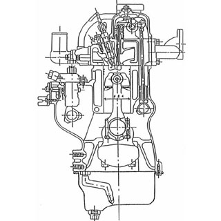 ディーゼル機関断面図